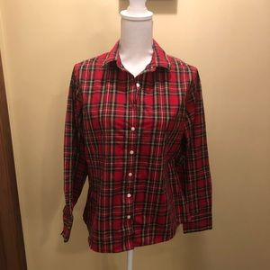 Land's End long sleeve red plaid button down EUC!